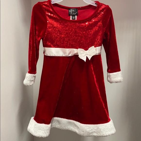 3T pink and violet red velvet Christmas dress